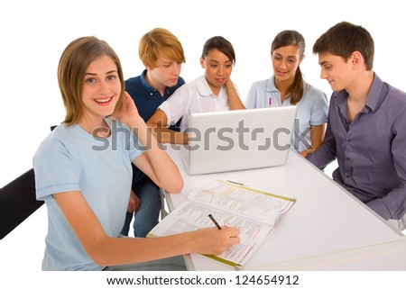teenagers studying together - stock photo