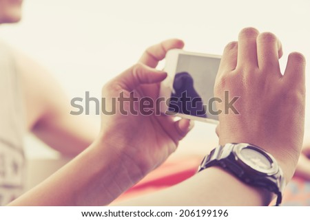 Teenagers With Mobile Phone  - stock photo