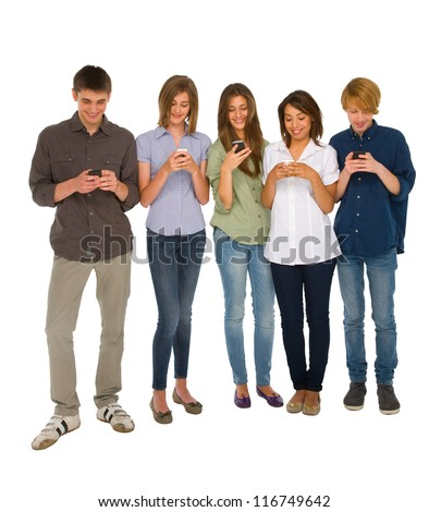 teenagers with smartphone