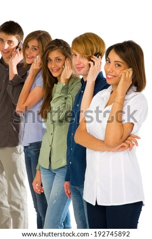 teenagers with smartphone - stock photo