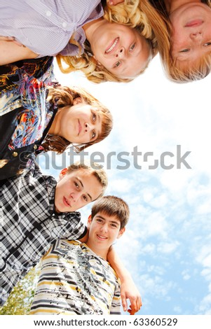 Teens group embracing
