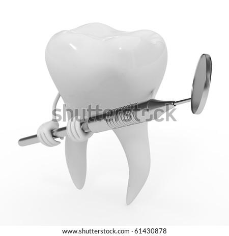 teeth and dental mirror - stock photo