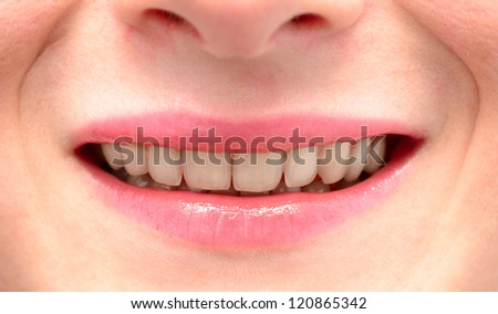 teeth of young woman close up
