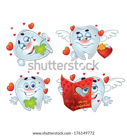 Teeth on romantic Valentines Day - stock photo