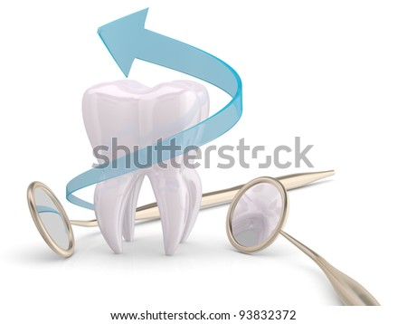 Teeth protection cooncept. Dentist mouth mirror, tooth and blue arrow - stock photo