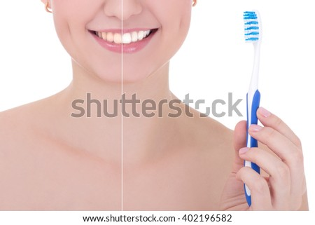 teeth whitening before and after concept - smiling woman with tooth brush isolated on white background - stock photo