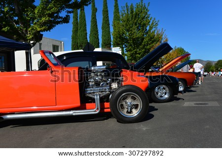 TEHACHAPI, CA - AUG 16, 2015: This unusual street rod, based on a 1951 Crosley, is first in the line of cars to greet visitors to the Thunder on the Mountain Car & Truck Show. - stock photo