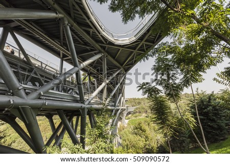 TEHERAN, IRAN - OCTOBER 05, 2016:Tabiat steel bridge connects two public parks by spanning the Modarres highway in northern Tehran.