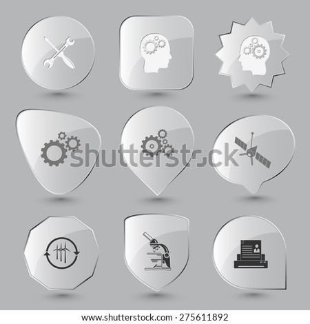 Tehnology set. Raster glass buttons. - stock photo