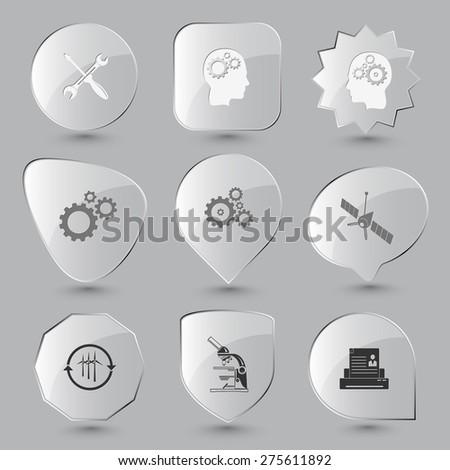 Tehnology set. Raster glass buttons. - stock photo