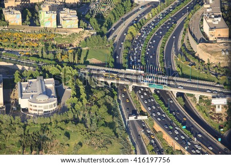 TEHRAN, IRAN - APRIL 30, 2016: aerial view of traffic interchange from Milad tower