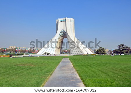 TEHRAN - OCTOBER 18: Azadi Tower on October 18, 2013 in Tehran.Azadi Tower was constructed in 1972 to commemorate the 2500th anniversary of the Persian empire. - stock photo
