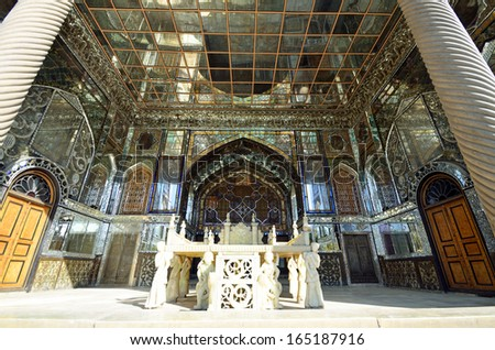 TEHRAN � OCTOBER 17: Golestan Palace on October 17, 2013 in Tehran.Golestan Palace is the former royal Qajar complex and the oldest  historic monuments in Tehran. - stock photo