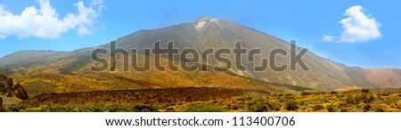 Teide National Park mountain in Tenerife panorama at Canary Islands Photo mount from several single images