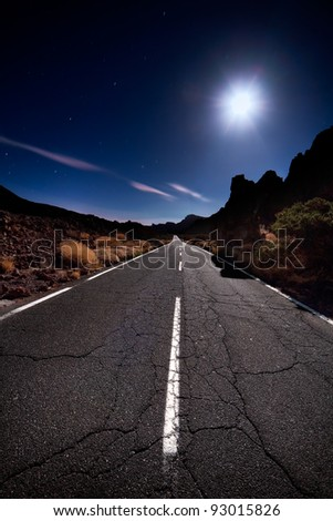 teide road in the middle of the night - stock photo
