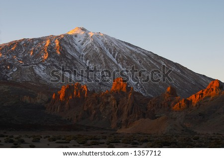 Teide volcano at sunset (Tenerife) - stock photo