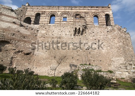 Tekfur Sarayi, Constantinople's last extant Byzantine imperial palace.before restoration - stock photo