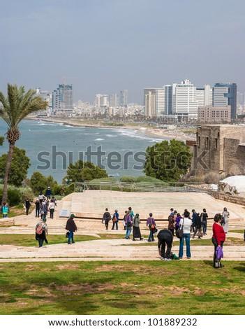 Tel-Aviv beach panorama. Jaffa. Israel. - stock photo