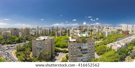 Tel Aviv Cityscape - Ramat Aviv Aerial View At Sunny Day - stock photo