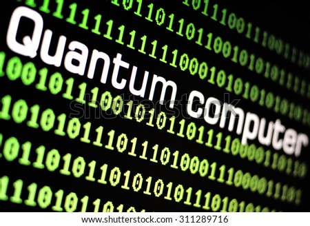 TEL AVIV, ISRAEL - AUG 29, 2015: Computer screen with quantum computer logo with a binary computer code background on a black background- illustration. Selective focus