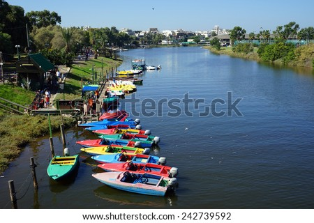 TEL AVIV, ISRAEL - CIRCA OCTOBER 2014 Boats on the Yarkon river                                - stock photo