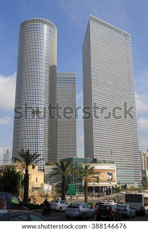 TEL-AVIV, ISRAEL - JANUARY 22, 2016: Azrieli Center in Tel Aviv view from western side