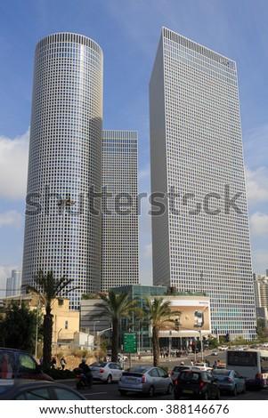 TEL-AVIV, ISRAEL - JANUARY 22, 2016: Azrieli Center in Tel Aviv view from western side - stock photo