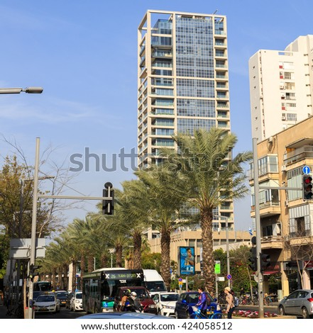 TEL-AVIV, ISRAEL - JANUARY 22, 2016: Crossroad of Kaplan and Ibn Gabirol in Tel Aviv