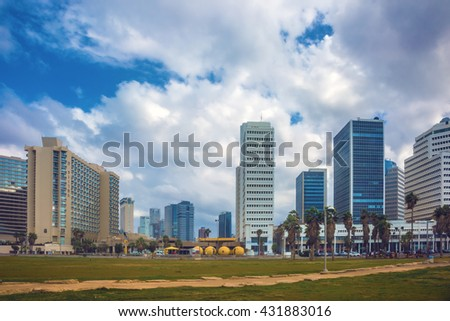 TEL AVIV, ISRAEL - JANUARY 1, 2016: Gorgeous Tel Aviv promenade in stormy weather. Warm winter