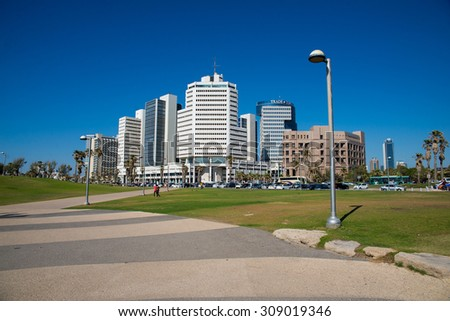 TEL AVIV, ISRAEL - JUNE 4, 2015: View of the business district with modern buildings in Tel Aviv. June 4, 2015. Tel Aviv, Israel.