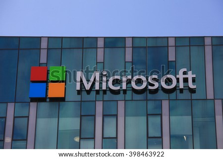 Tel Aviv, Israel - March 30, 2016: Microsoft logo and emblem. Microsoft is an international corporation that develops, supports and sells computer software and services worldwide. - stock photo