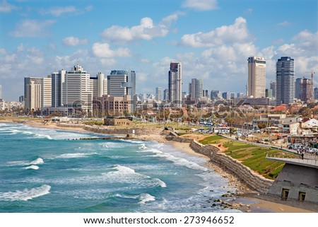 TEL AVIV, ISRAEL - MARCH 2, 2015: The outlook to waterfront and city from old Jaffa  - stock photo