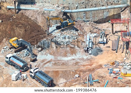TEL-AVIV, ISRAEL - MAY 22 : Bird view of construction work site with construction machinery on May 22, 2014 in Tel Aviv, Israel.