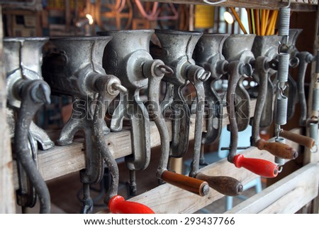 TEL AVIV, ISRAEL -  MAY 19, 2014: Installation of the old meat grinders  in the Museum Tower, Tel  Aviv