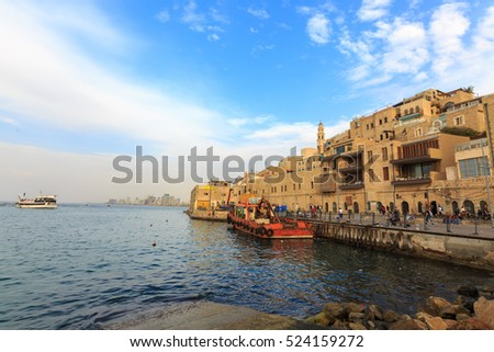 Tel Aviv, Israel - Nov 19, 2016: View from port to Jaffa quay in Israel, on the Mediterranean Sea