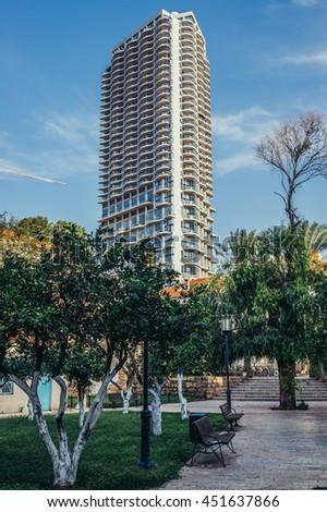 Tel Aviv, Israel - October 20, 2015. Modern residential building called Nehoshtan Tower in historic Neve Tzedek district (lit. Abode of Justice) of Tel Aviv - stock photo