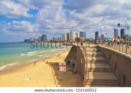 TEL AVIV,ISRAEL - SEPTEMBER 28:Skyline from Jaffa on September 28,2013 in Tel Aviv.The second most populous city and the largest metropolitan in Israel with population of 410,000.