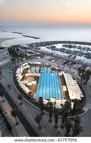 "Tel- Aviv marina and ""Gorden"" swimming pool"", Israel - stock photo"