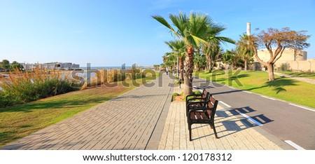 Tel Aviv New promenade panoramic view - popular recreational area of Tel Aviv city. Mediterranean, Israel - stock photo