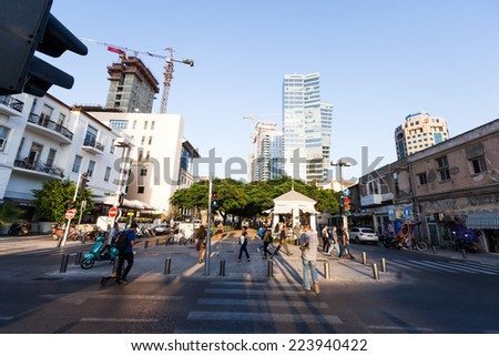 TEL-AVIV - OCT 7: View of a small part of  Rothschild Boulevard, one of the prominent streets of  Tel-Aviv, Israel on October 7 2014. - stock photo