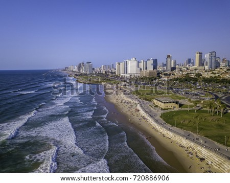 Tel Aviv skyline and sand beaches  Israel outlook to waterfront and city from old Jaffa