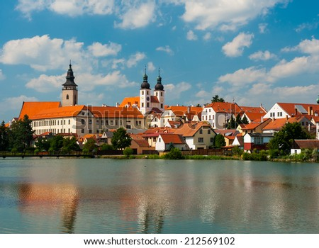 Telc is one of most beautiful towns in Southern Moravia, Highlands Region. The historical core belongs to UNESCO. Czech Republic - stock photo