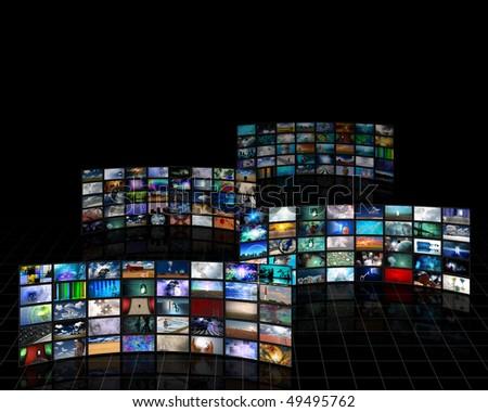 Tele Screens - stock photo