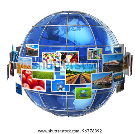 Telecommunication and media technologies concept: cloud of colorful phots around blue glass Earth globe isolated on white background - stock photo
