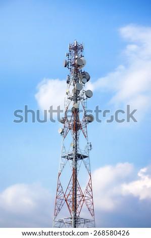 Telecommunication, Broadcasting tower on blue sky background - stock photo