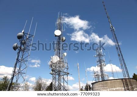 Telecommunication & cell towers technology. - stock photo