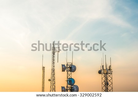 Telecommunication mast TV antennas when sunrise sky,Steptoe Butte,Washington,USA. - stock photo