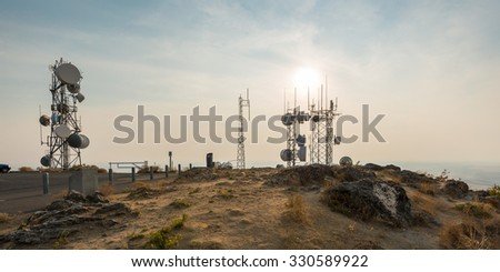 Telecommunication mast TV antennas when sunrise sky,Steptoe Butte,Washington,USA. - stock photo
