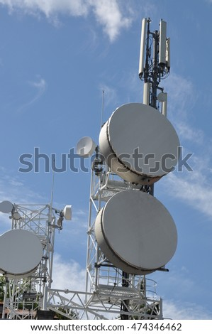 Telecommunication mast with antennas