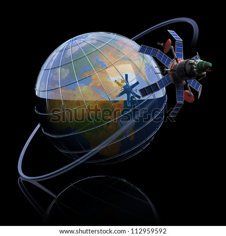 Telecommunication satellite around Earth concept. Elements of this image furnished by NASA. - stock photo